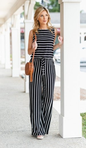 Resort Ready Jumpsuit, Black/Ivory Stripe