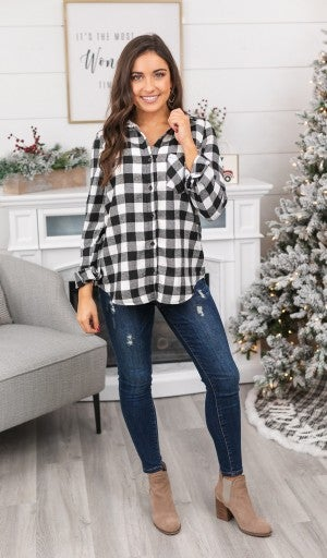 Fave Buffalo Check Sherpa Lined Flannel,  Ivory