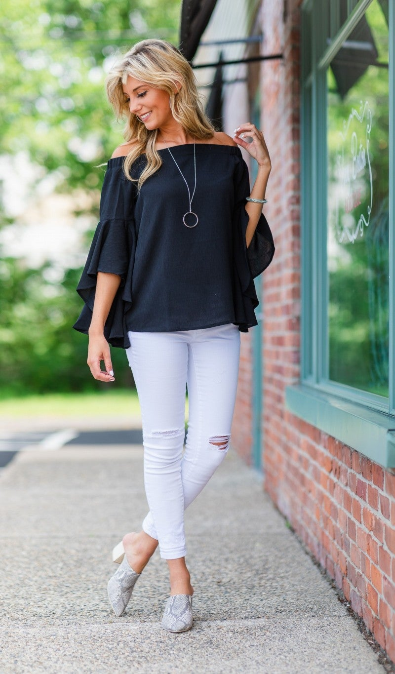 Night Out Top, Black