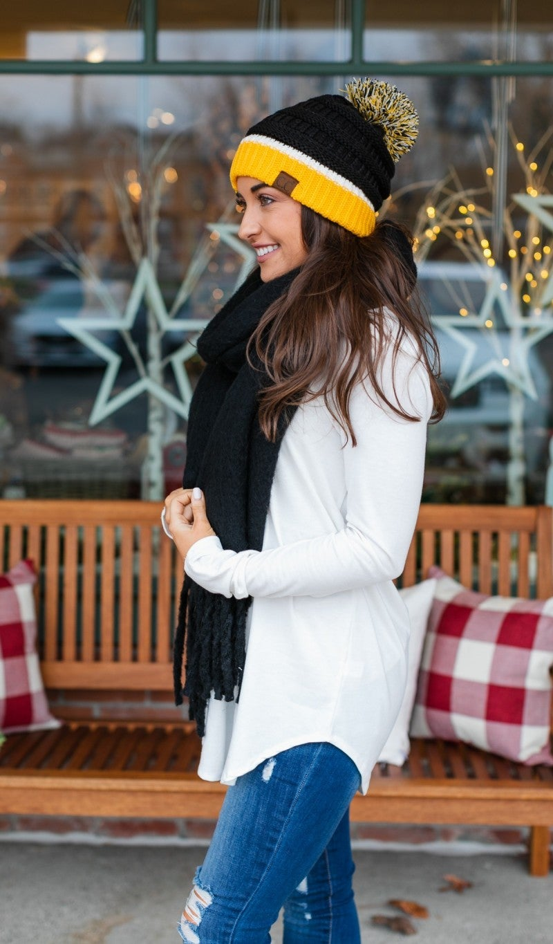 Super Sunday! Team Spirit Knit Pom Pom Hats, Black or Navy
