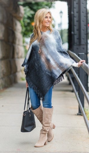 The Watercolor Poncho, Black