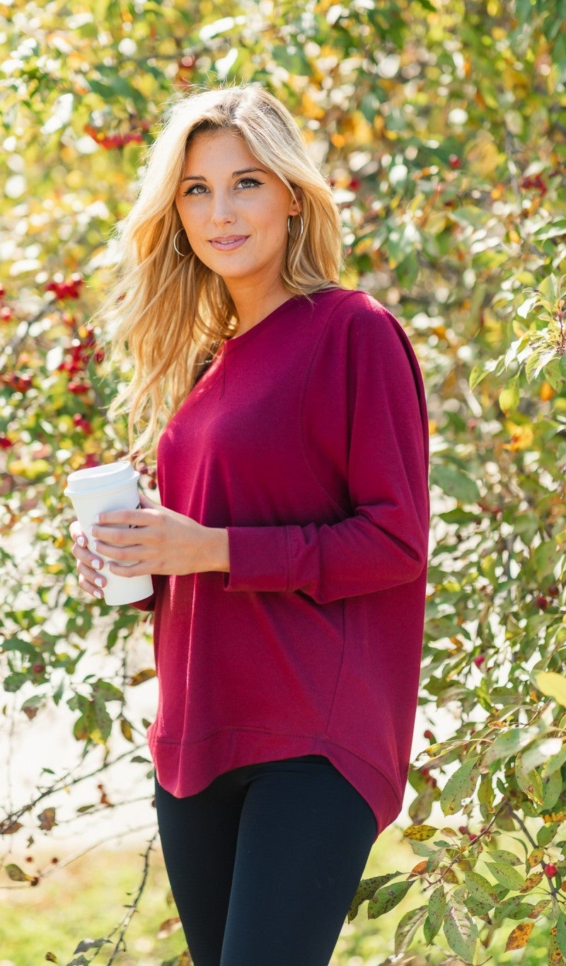 Staying Home Tunic, Burgundy