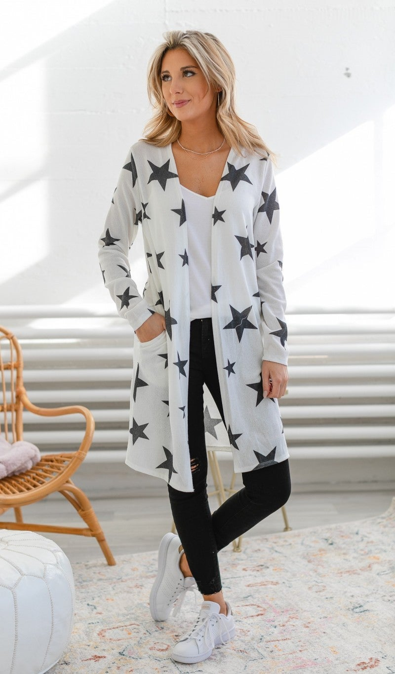Shine All Day Cardigan, Ivory and Black *Final Sale*