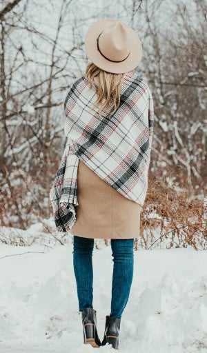 On The Road Plaid Blanket Scarf