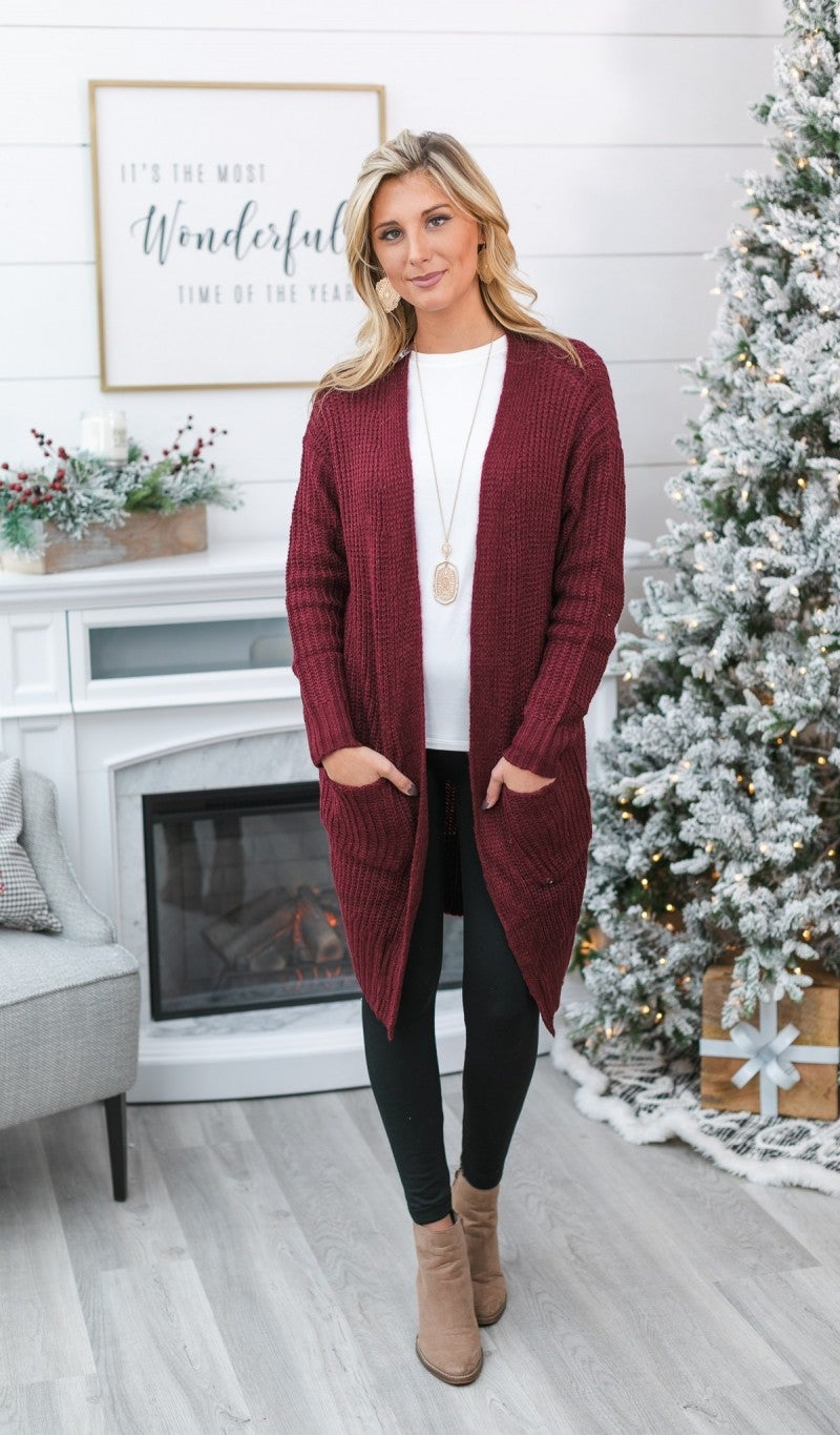 The Cleo Knit Cardigan, Burgundy