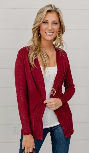 The Kassie Cardigan, Burgundy