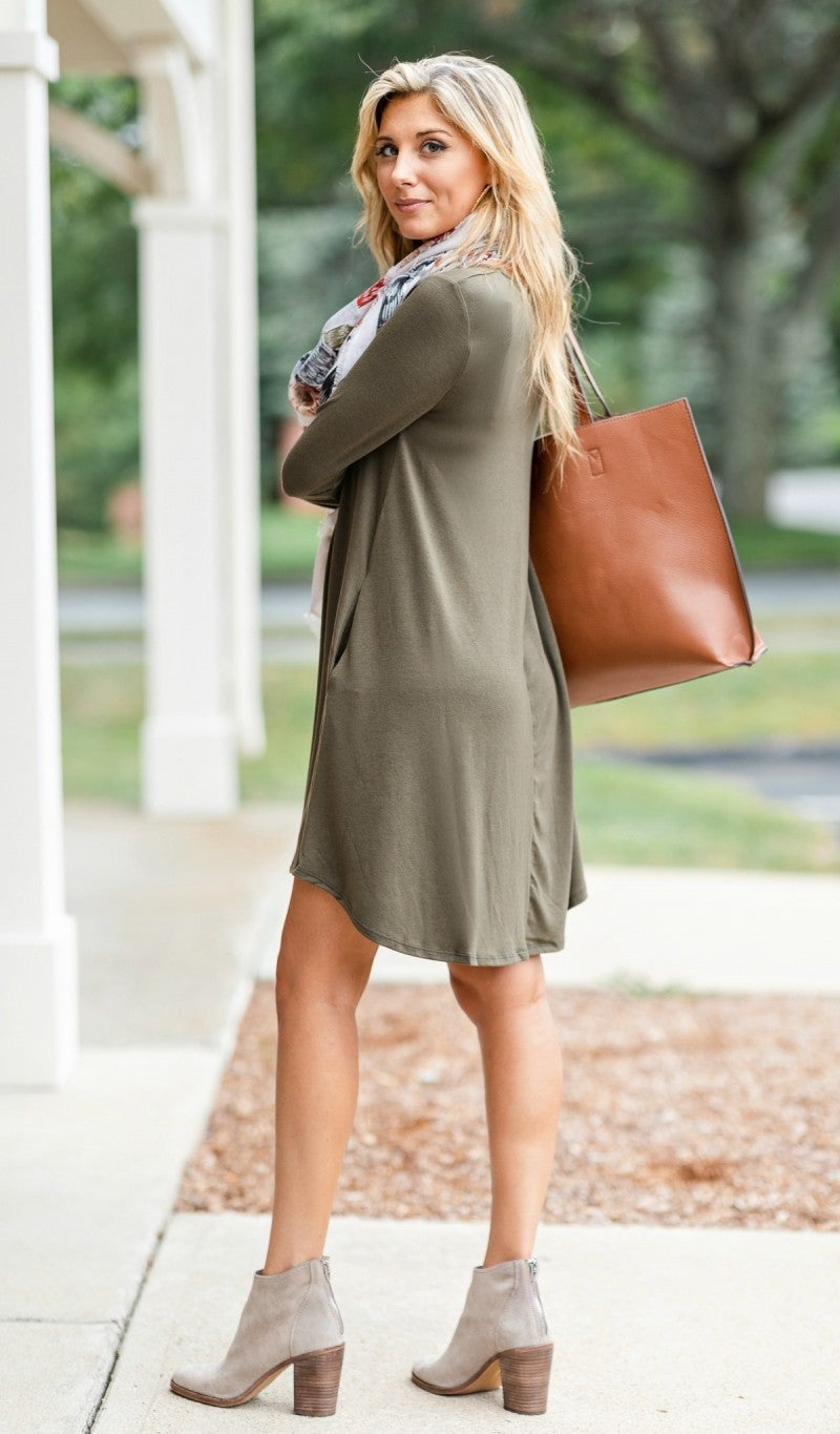 Fall Transition Dress, Olive *Final Sale*