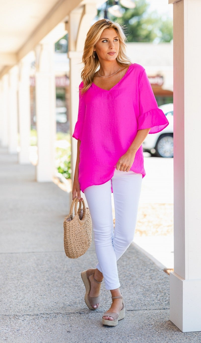 Cute' Chic Top, Hot Pink