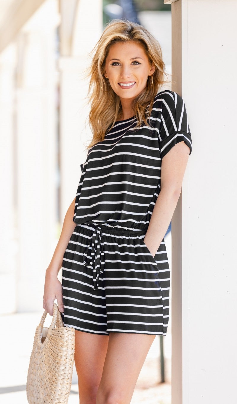 Feel Free Romper, Black & Ivory Stripe