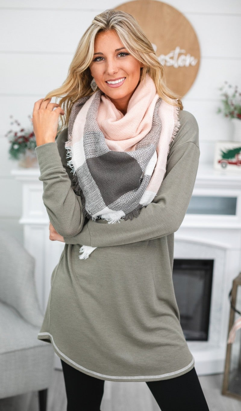 BUNDLE! Into The Mist- Closer To You Tunic in Olive & Pink Plaid Blanket Scarf