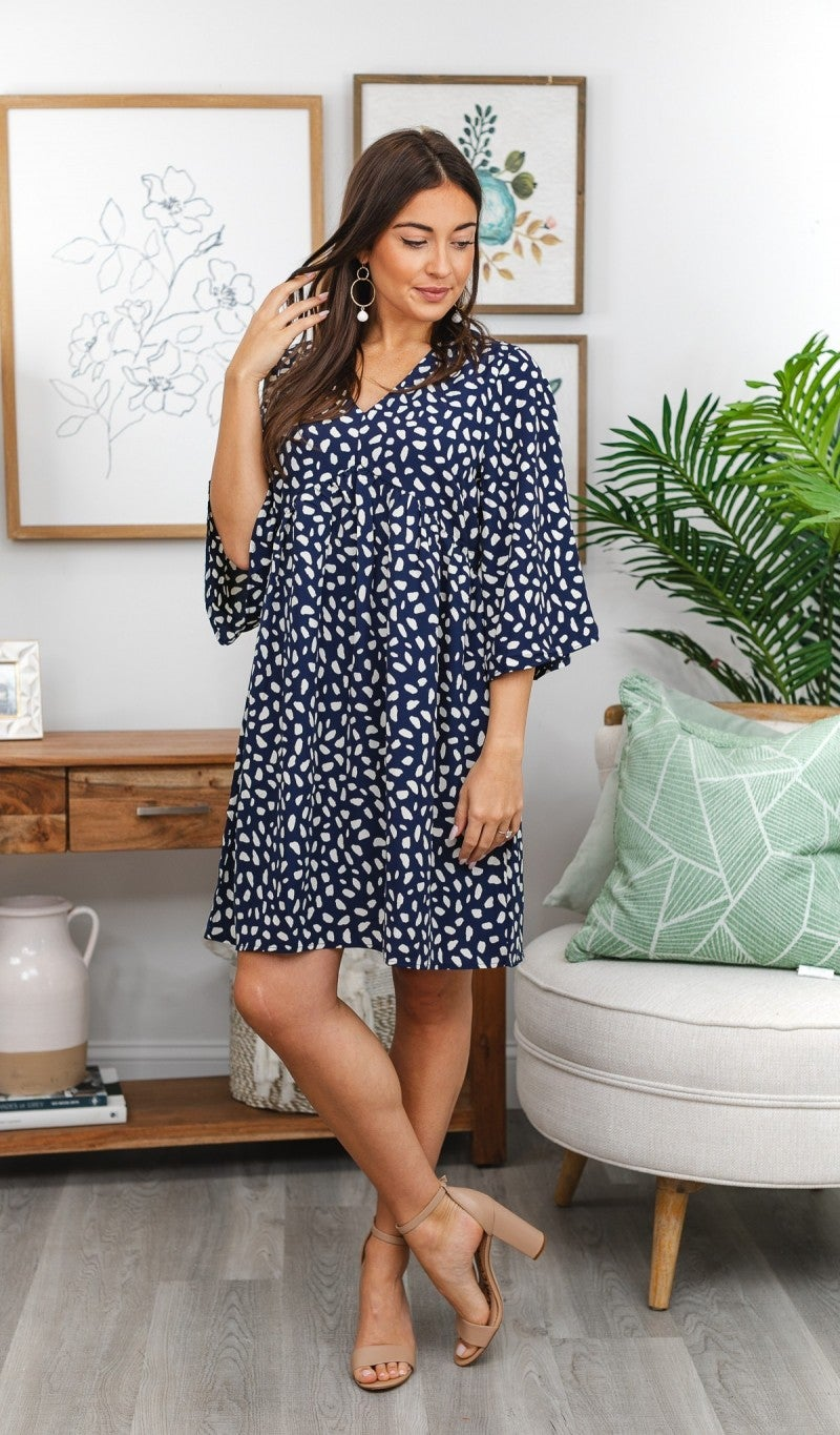 Look This Way Dress, Navy