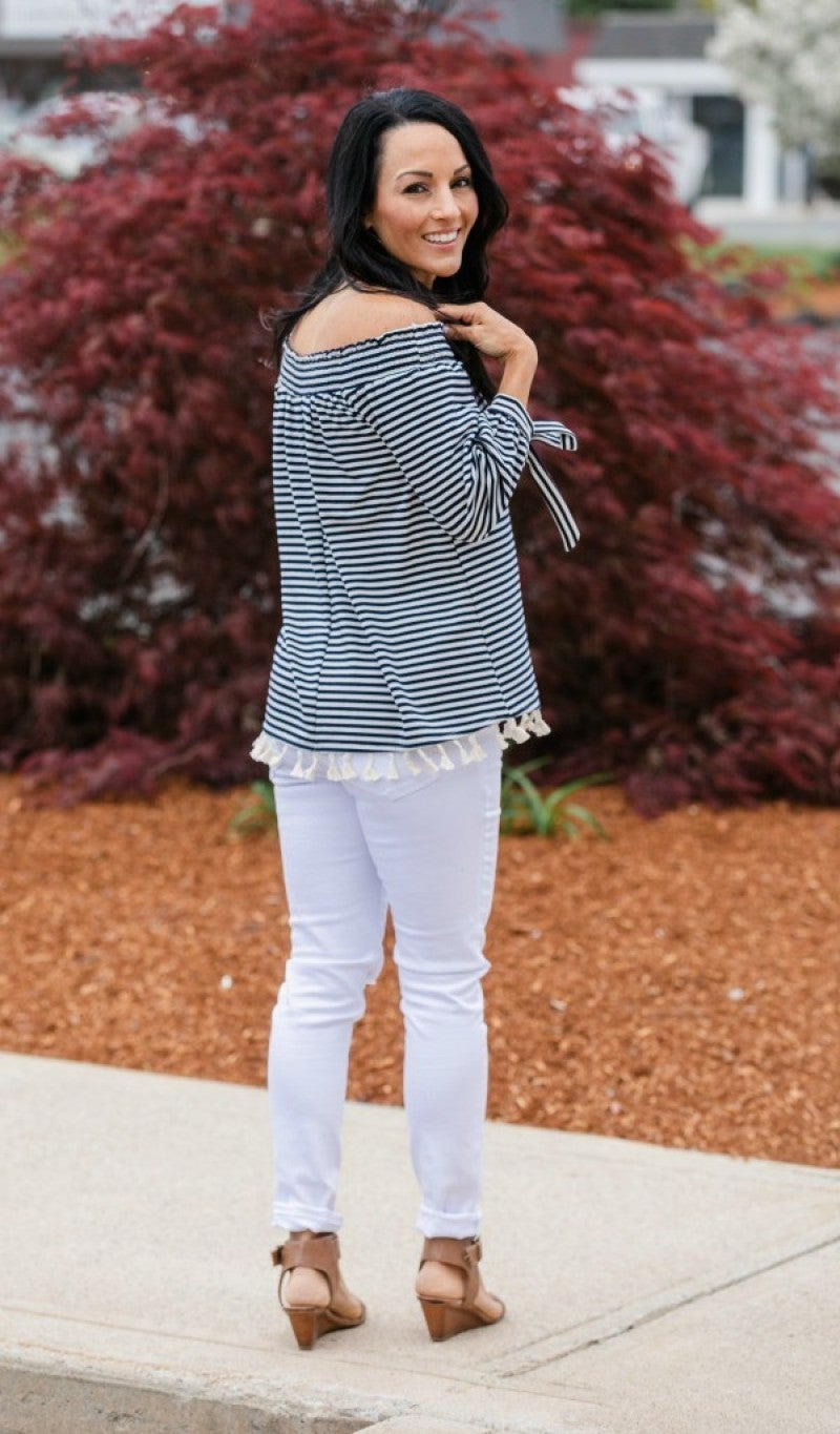 Set Sail Off the Shoulder Top, Navy & Ivory Stripes