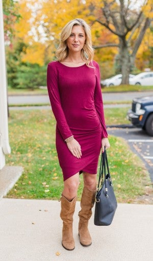 Can't Decide Dress, Burgundy *Final Sale*