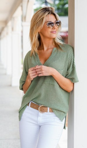 Forever Yours Waffle Tee,Sage