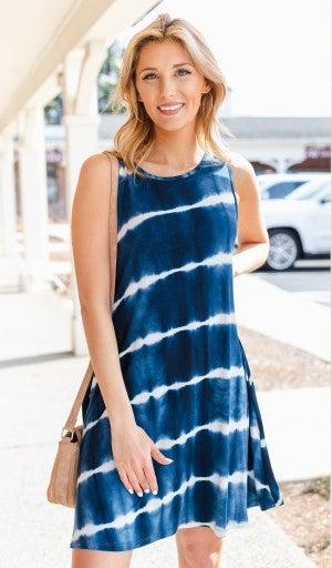 The Morgan Tie-Dye Dress, Navy