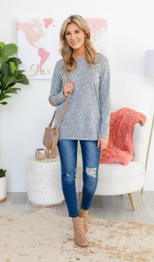 Cute As A Button Top, Grey