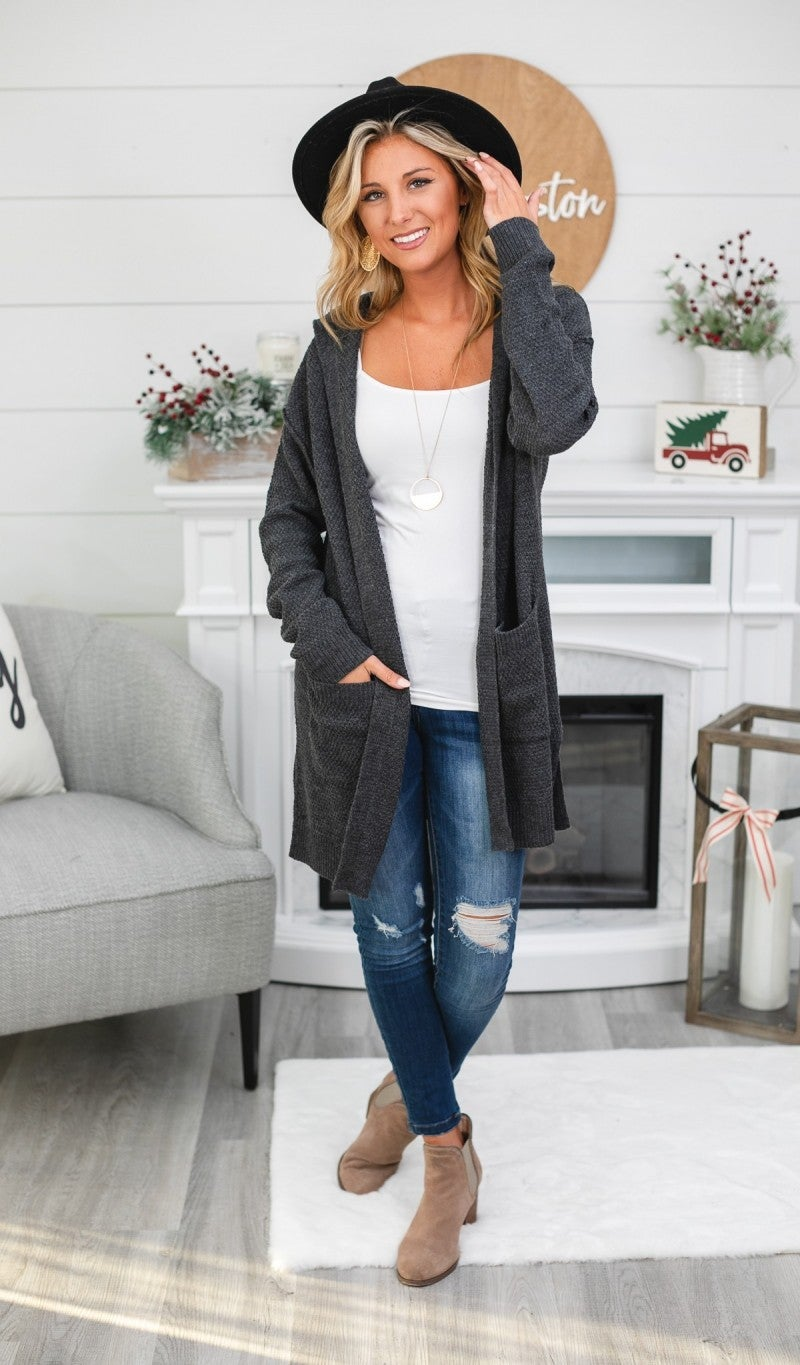 Easily Adored Cardigan, Charcoal