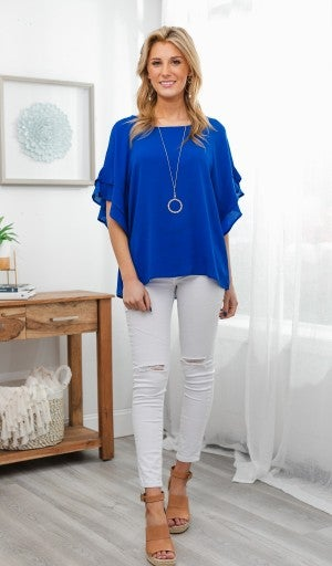 Shining Personality Top, Cobalt