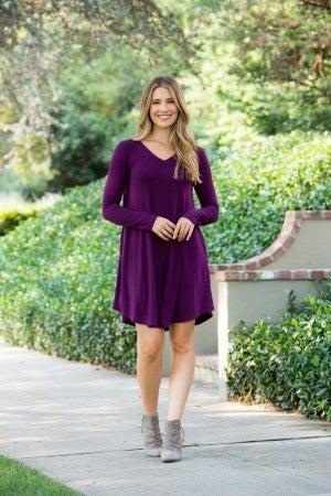 The Morgan Long Sleeve Dress, Plum