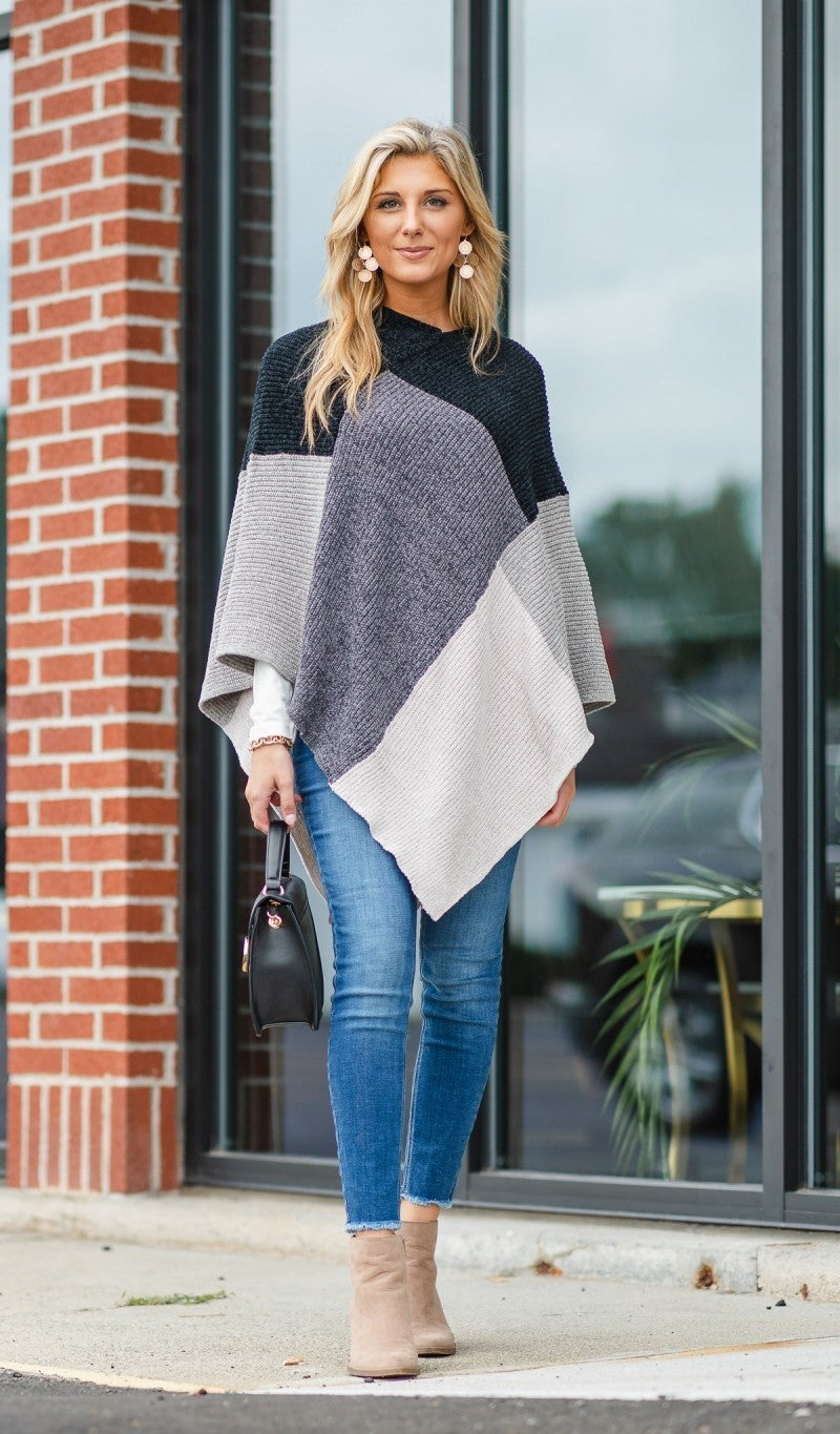 Patchwork Chenille Poncho, Black