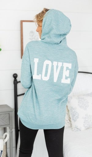 One LOVE Hoodie, Marled Blue