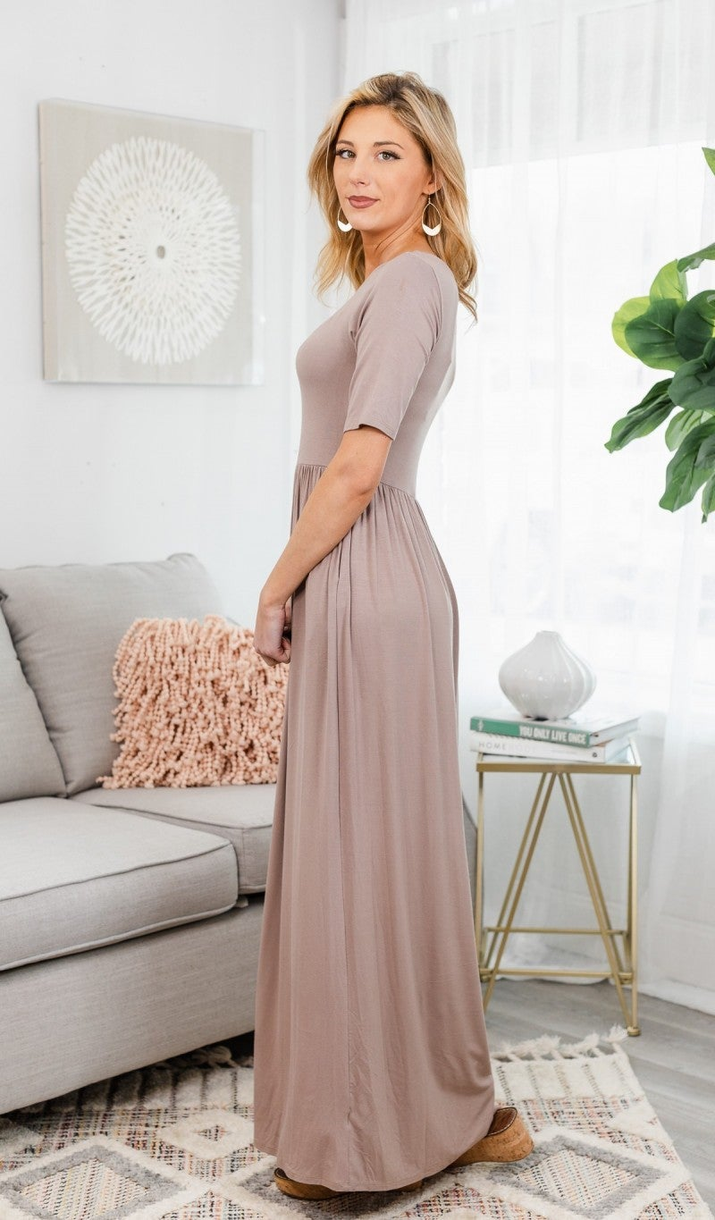 Everyday Comfort Maxi Dress, Mocha