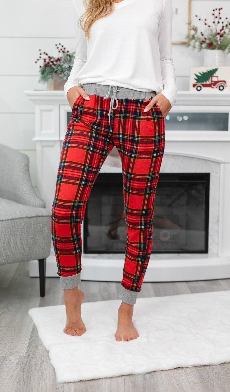 Super Sunday! Lets' Get Cozy Joggers, Plaid or Reindeer Print