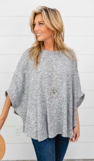 Fall Fun Sweater/Poncho, Heather Grey