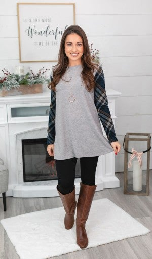 Present In Plaid Tunic, Grey
