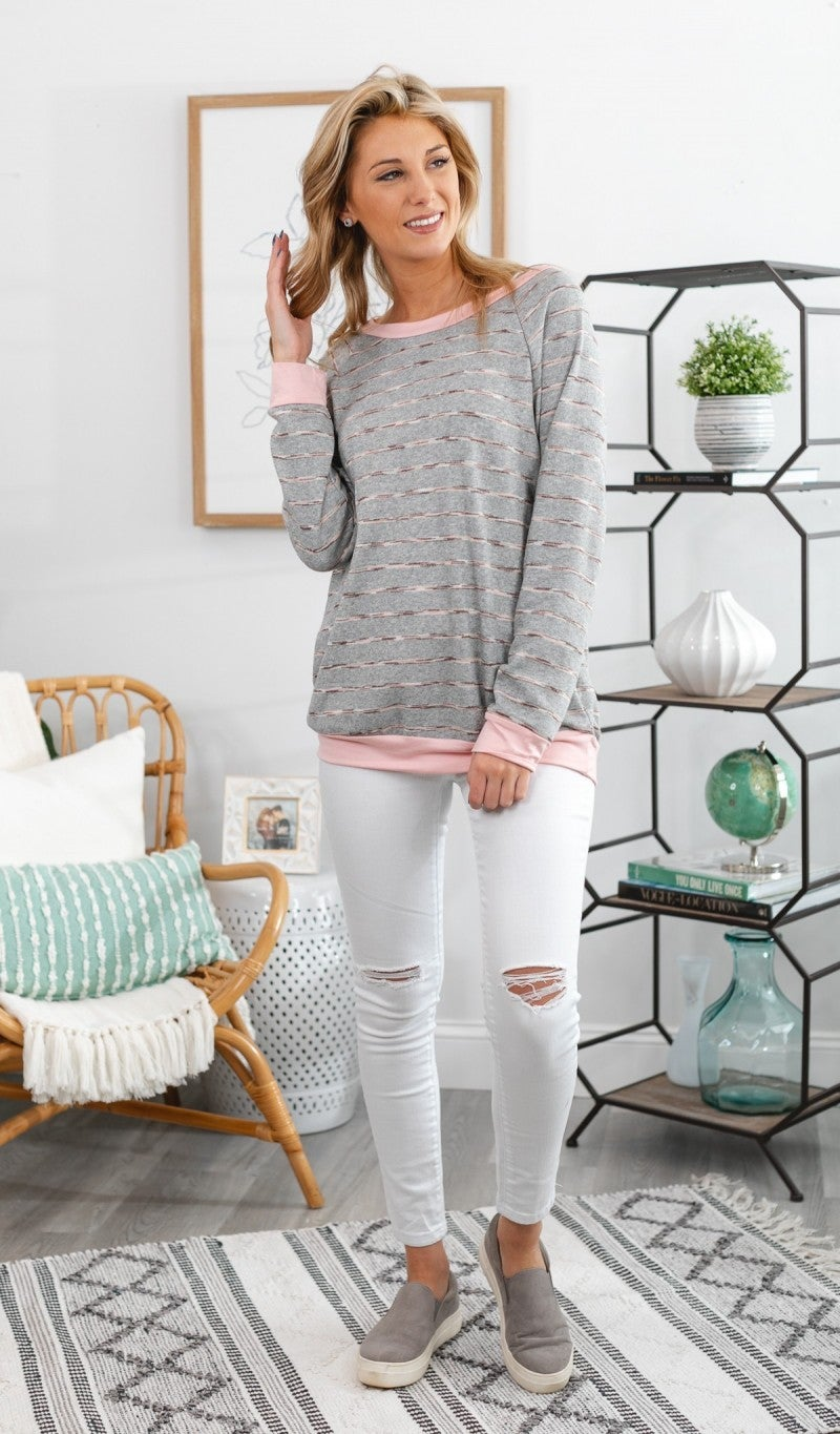 Day To Remember Pullover, Heather Grey & Mauve
