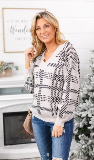 Snowed In Sweater, Taupe & Plaid Print