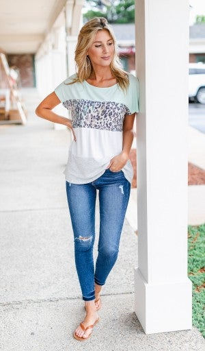 Laid Back Tee, Mint Color Block