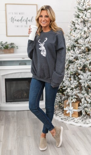 All Things Christmas Reindeer Top, Grey