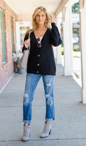 Forever A Classic Cardigan, Black
