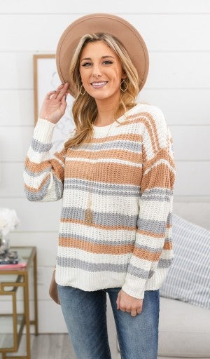 Where You Are Going Striped Sweater, Taupe