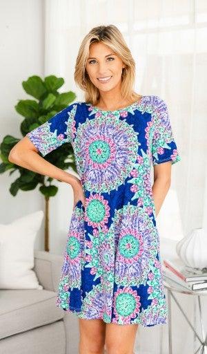 Summer Blossom Dress, Cobalt Print
