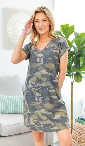 Essential Camo V-Neck Dress