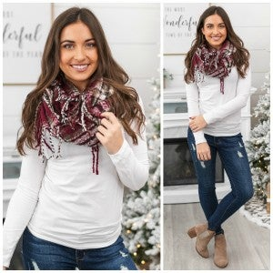 Chilly Nights Plaid Fringe Infinity Scarf, Burgundy *Final Sale*