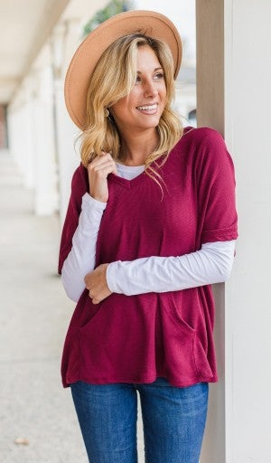 Fall Breeze Pullover, Burgundy