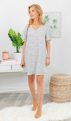 Beautiful Discovery Dress, Ivory/Black