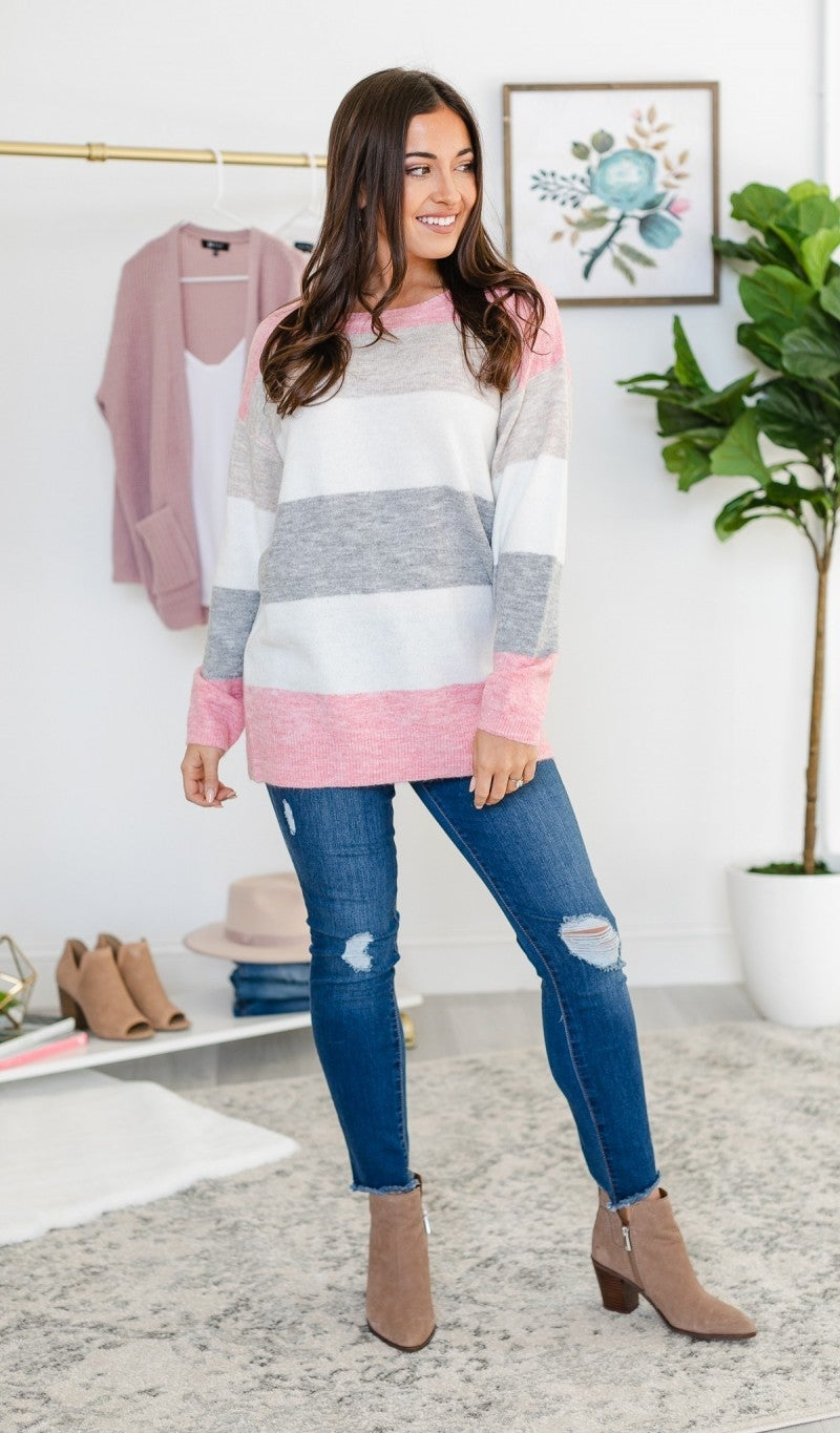 Cozy Life Sweater, Pink
