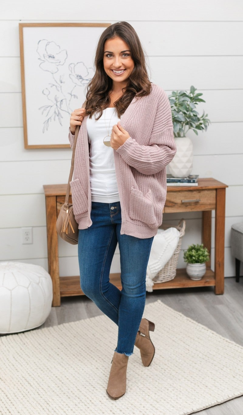 Snowed In Cardigan, Mauve