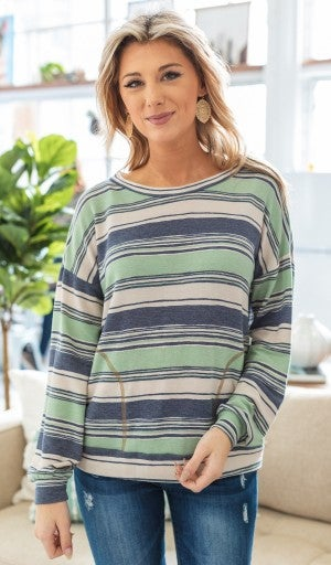 Down For The Weekend Top, Sage