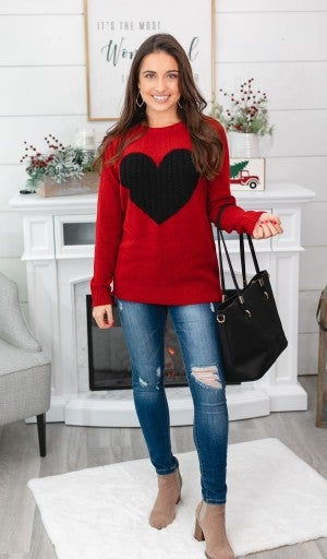 Open Your Heart Sweater, Red