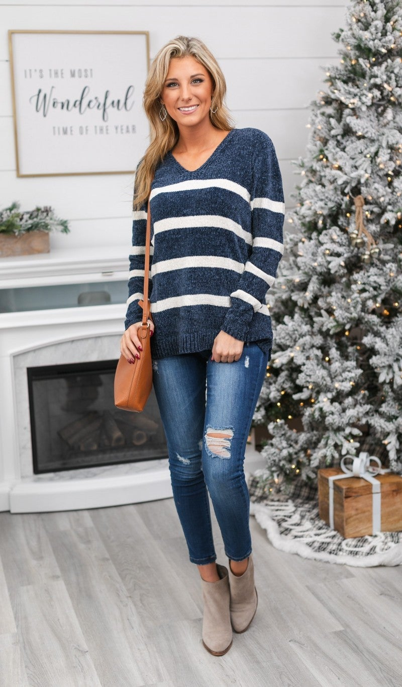 Caroline Chenille Stripe knit Sweater, Navy