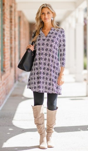 Perfect Illusion Tunic, Black/Grey