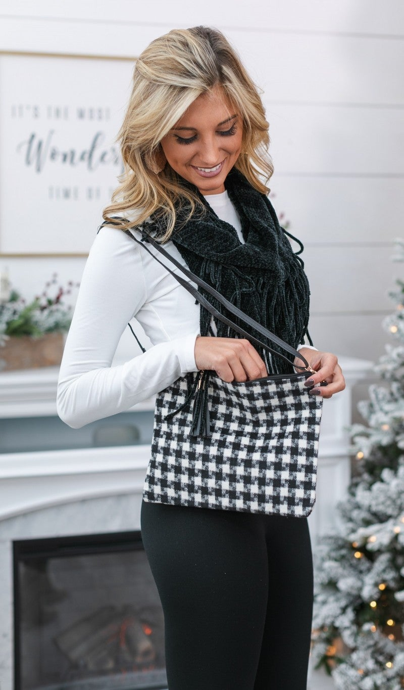 Everyday Houndstooth Clutch, Ivory or Red