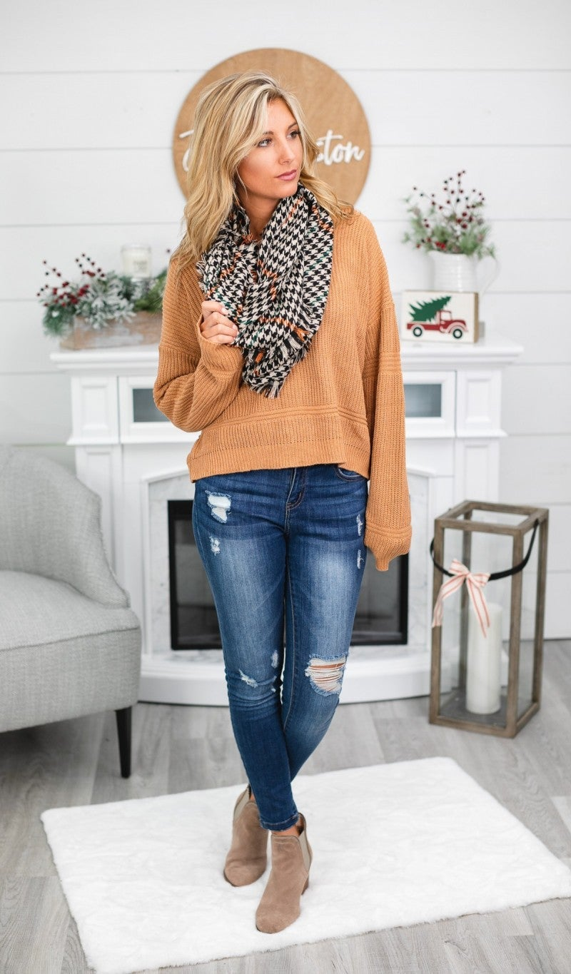 BUNDLE! City Limits- Perfect Comfort Sweater in Terracotta & Black Houndstooth Infinity Scarf