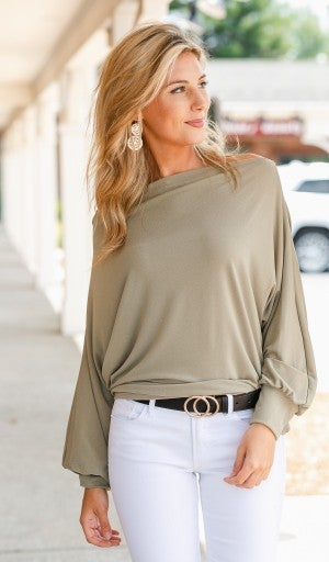 Date Night Top, Light Olive