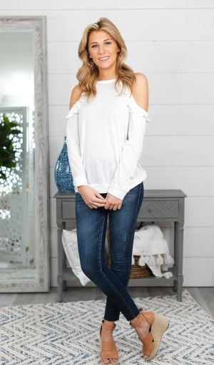 Giving The Cold Shoulder Top, White